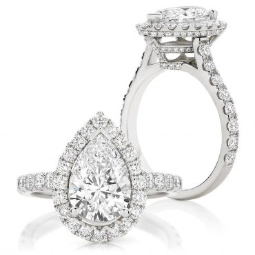 Brilliant Pear Halo with Claw Set Band