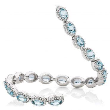 Oval Sky-Blue Aquamarine and Diamond Bracelet