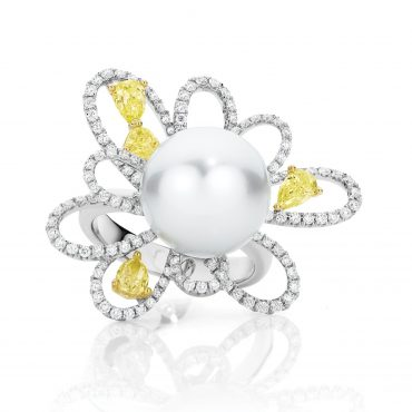 Pearl And Yellow Diamond Dress Ring