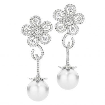Pearl and Diamond Flower Drop Earrings