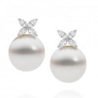 Pearl and Diamond Flower Earrings