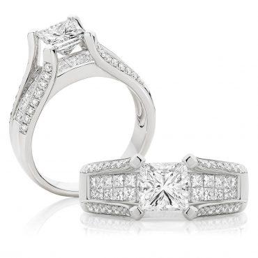 Princess Cut Diamond Split Band – White Gold