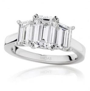 Emerald cut diamond trilogy