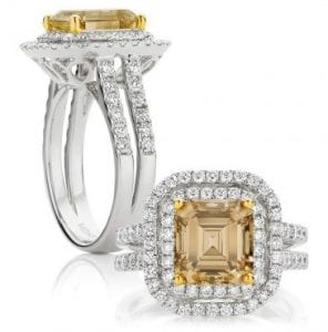 Square emerald cut yellow diamond engagement ring