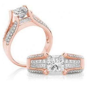 Rose gold diamond split band engagement ring
