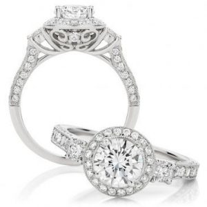 Halo trilogy diamond engagement ring