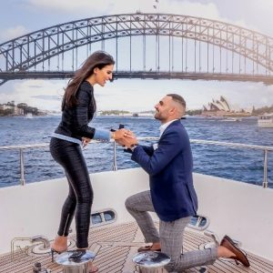 A romantic marriage proposal at the Sydney Harbour