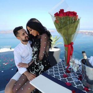A romantic proposal at Santorini, Greece