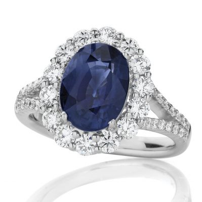 Sapphire and Diamond Pavé Split Band