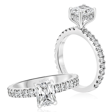 Radiant French Shoulder Solitaire Engagement Ring