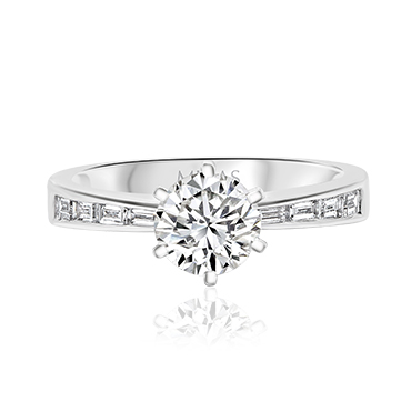 Round Solitaire with Baguette Diamond Band