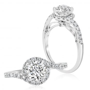 Round Brilliant Twist Halo Engagement Ring