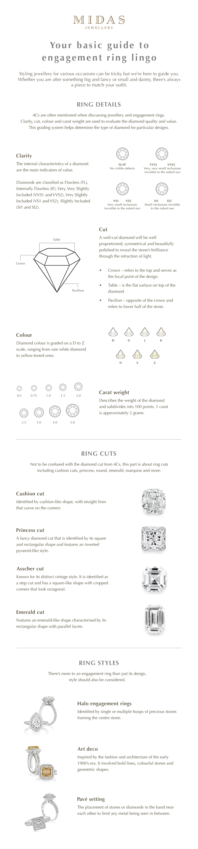 Engagement ring lingo infographic