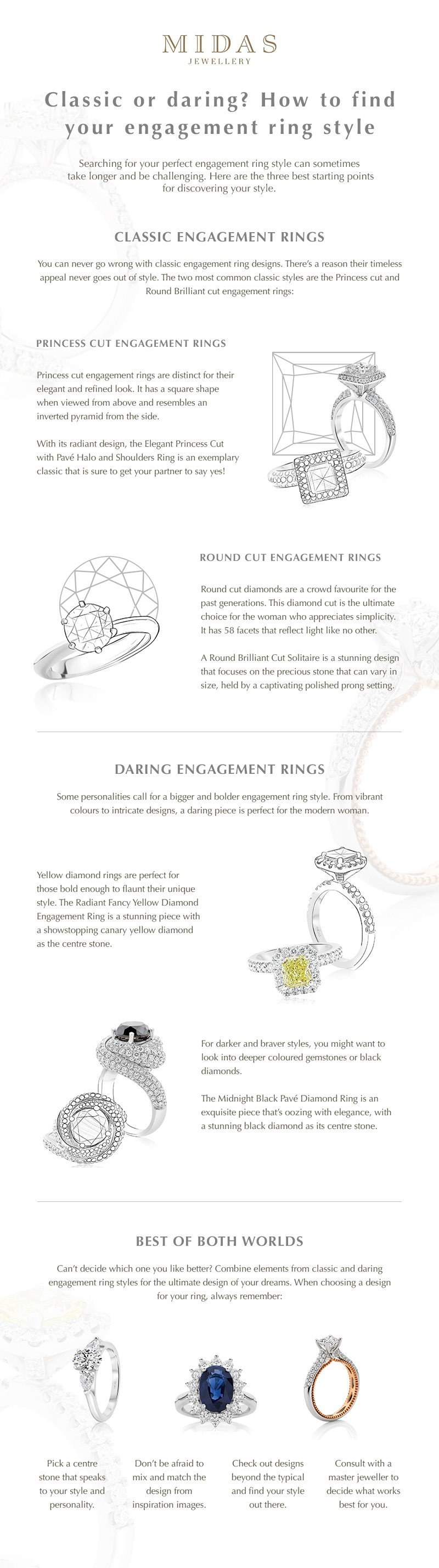 How to find your engagement ring style infographic