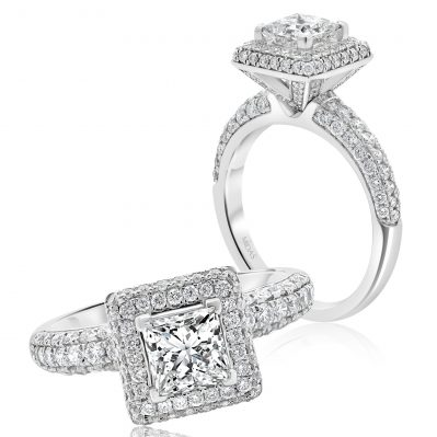 Elegant Princess Cut with Pavé Halo and Shoulders