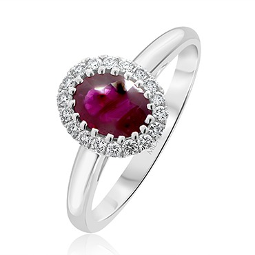 Radiating Halo Ruby Ring
