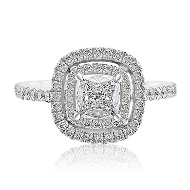 Double Halo Diamond Cushion Cut