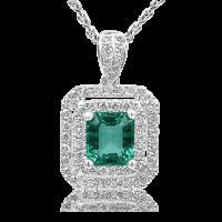 Glorious Emerald with Double Diamond Halo