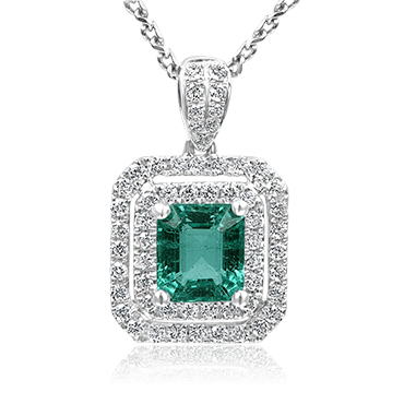 Glorious Emerald with Double Diamond Halo