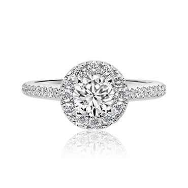 Round Brilliant Halo with Diamond Shoulders