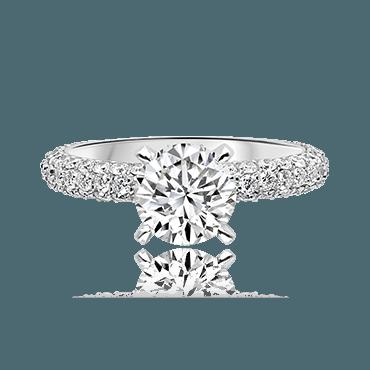 Elegant Round Brilliant Solitaire with Pavé Diamond Shoulders