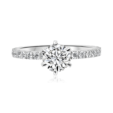 Round Solitaire with Brilliant Diamond Band