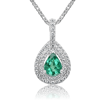 Emerald Pear Pendant with Double Halo