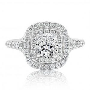 Brilliant Double Halo Cushion Cut with Split Shoulders