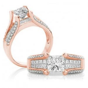 Princess Cut Diamond Split Band – Rose Gold