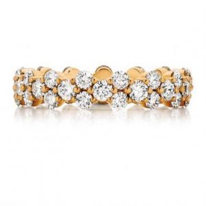 Rose Gold - Round Cut Diamond Rose Gold Wedding Band