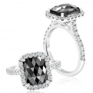 Black Diamond Cushion Cut Engagement Ring