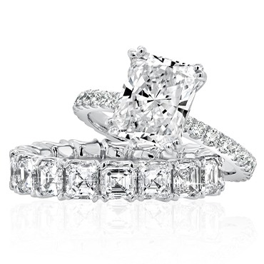 Radiant Cut Engagement Ring with Asscher Cut Wedding Band