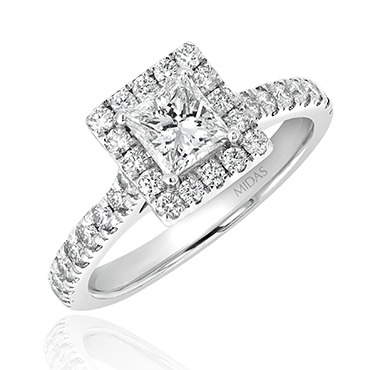 Princess Cut with Diamond Halo and Shoulders