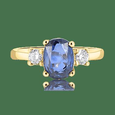 Oval Sapphire with Round Diamond Trilogy