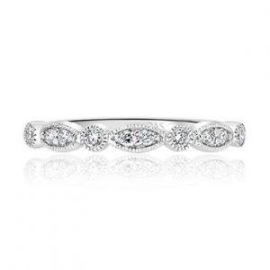 Milgrain round and marquise diamond wedding band