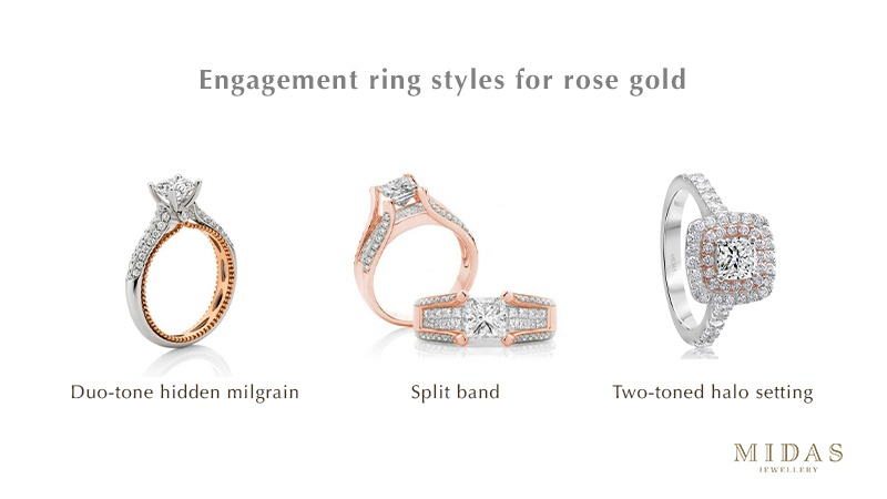 Engagement ring styles for rose gold