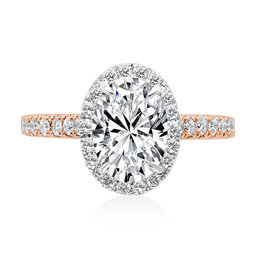 Oval Diamond Engagement Ring with Single Halo