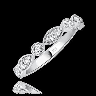 Round Leafy Milgrain Wedding Ring