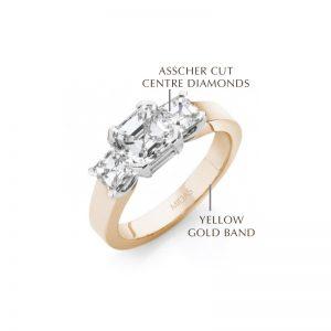 Asscher Cut Yellow Gold Trilogy Ring