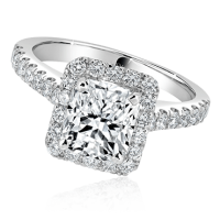 Radiant Cut Engagement Ring with Diamond Halo and Band