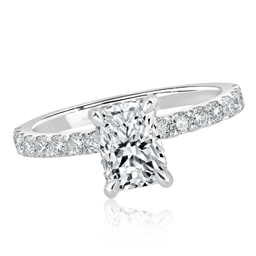 Radiant Cut Engagement Ring with Flushed Diamond Band
