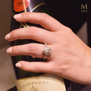 engagement ring and champagne