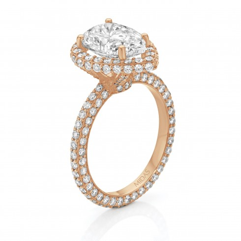 Rose Gold Pavé Pear Shaped Diamond Engagement Ring
