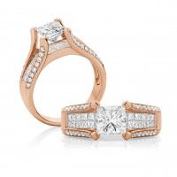Princess Cut Diamond Split Band – Rose Gold
