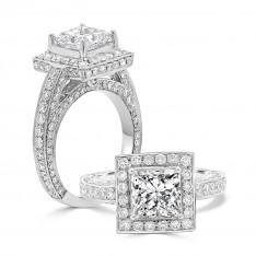 Princess Cathedral Halo Engagement Ring