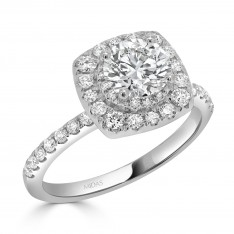 Double Halo Solitaire Engagement Ring