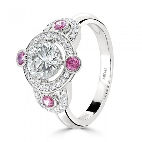 Vintage Pink Round Halo Diamond Engagement Ring