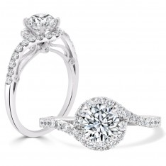 Round Brilliant Twist Halo Engagement Ring