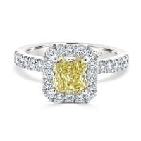 Radiant Fancy Yellow Diamond Engagement Ring