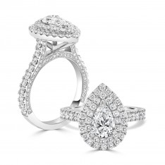 Brilliant Pear Engagement Ring with Double Halo